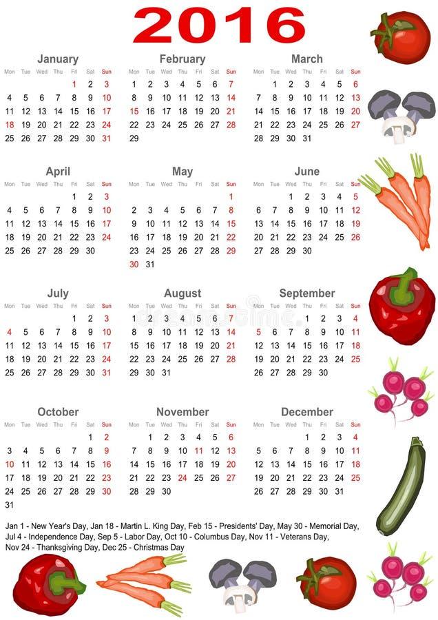 Calendar Illustration List : Calendar for usa with various vegetables stock vector