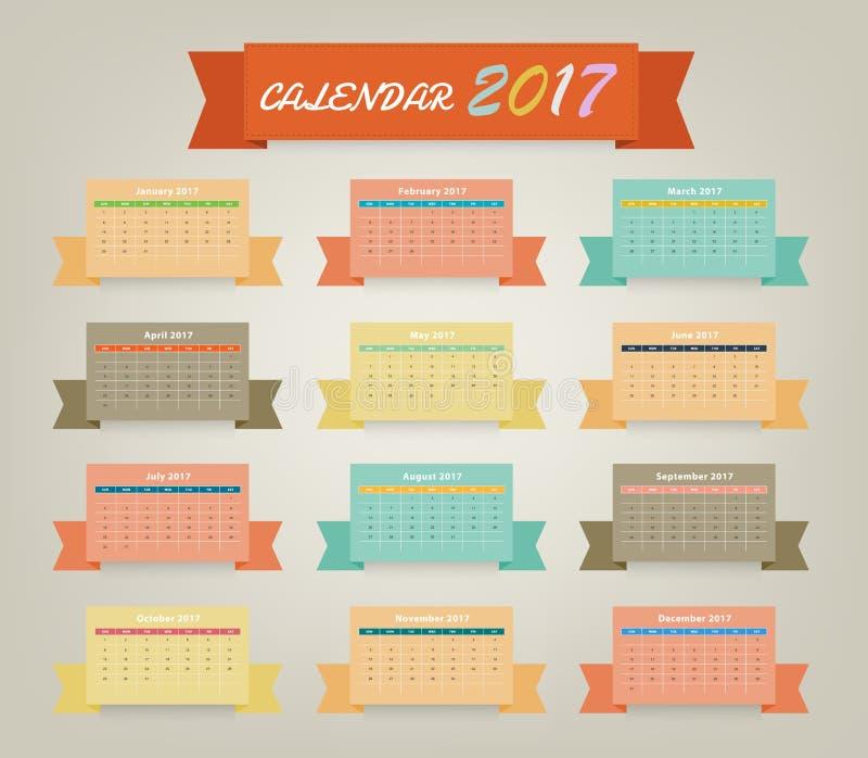 Calendar Ribbon Design : Calendar variety color on ribbon design stock vector