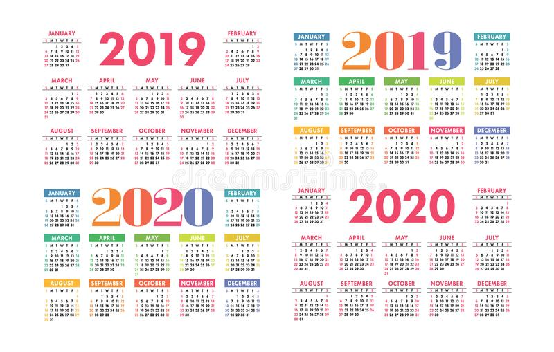 Calendar 2019 and 2020 vector basic grid. Colorful design stock illustration