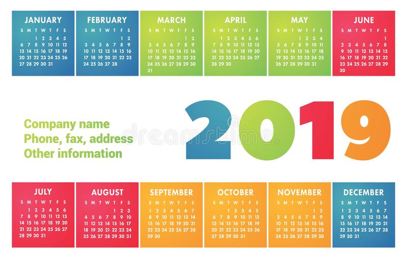 Calendar 2019 vector basic grid. Simple design template. English. Calender for print vector illustration
