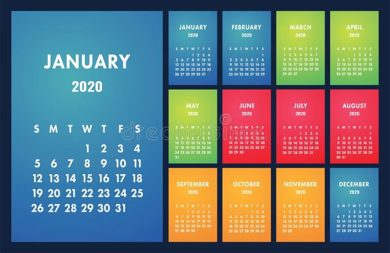 Calendar 2020 vector basic grid. Simple design template. English wall calender royalty free illustration