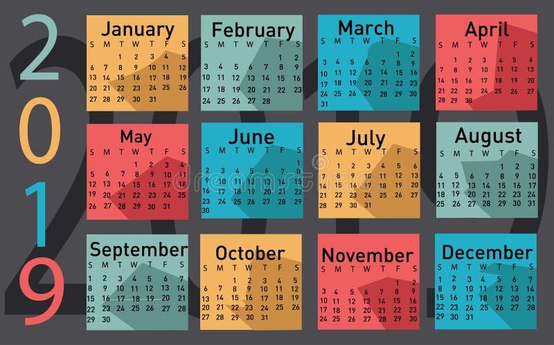 Calendar for 2019 vector. Illustration stock illustration