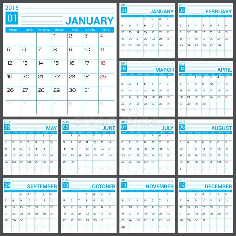 calendar 2015 vector desing template stock vector
