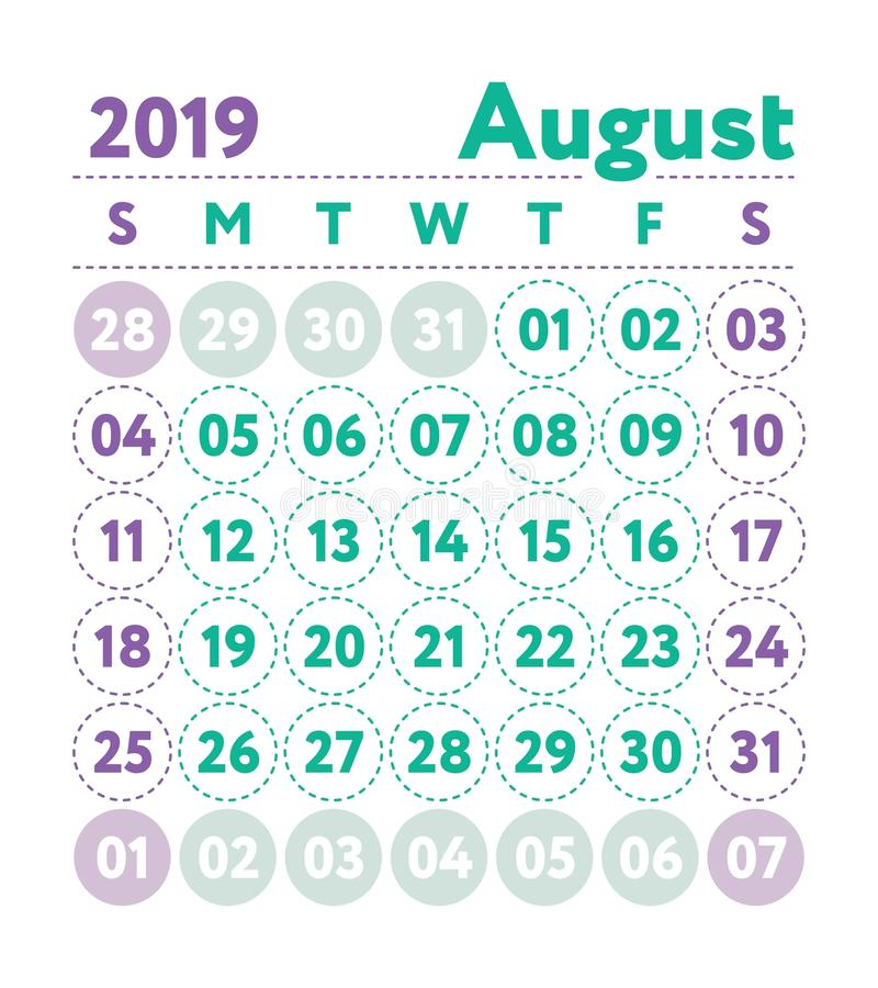 Calendar 2019. Vector English calender. August month. Week start stock illustration