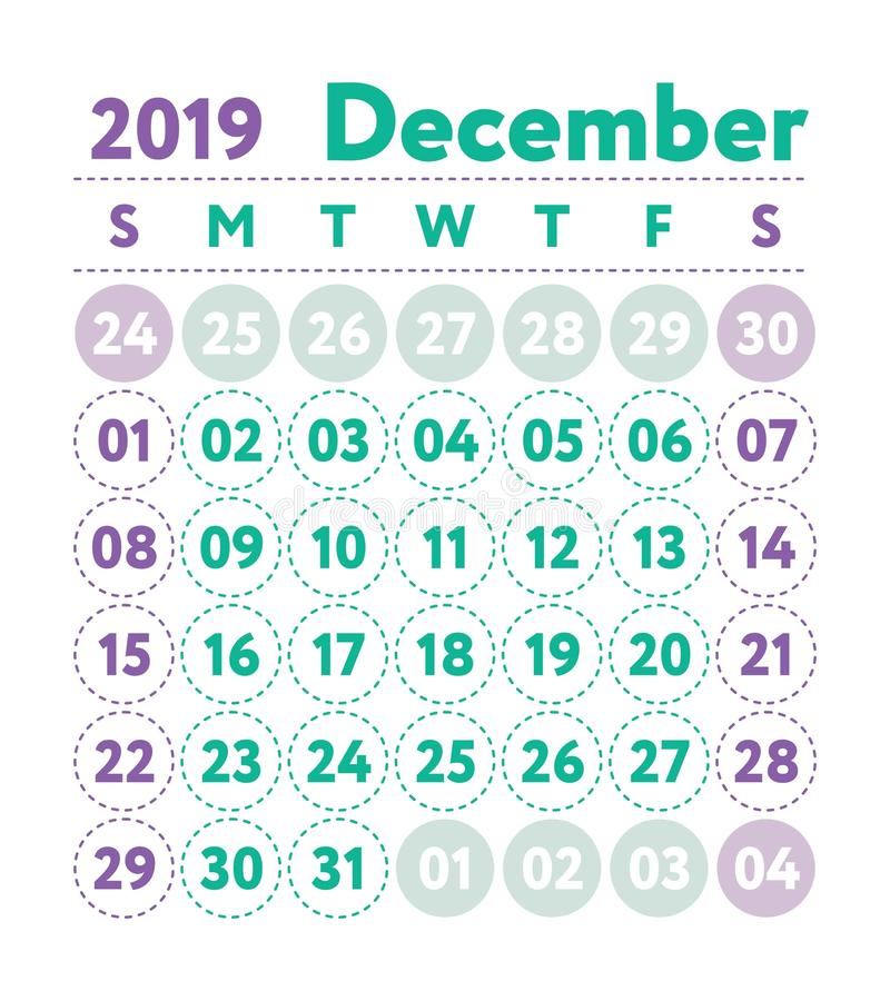 Calendar 2019. Vector English calender. December month. Week sta. Rts on Sunday. Ready design template. Planner. Business planning. Trend purple and green colors royalty free illustration