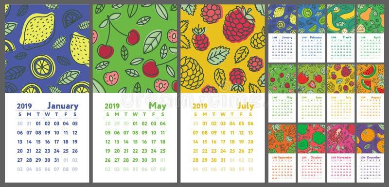 Calendar 2019. Vector English calender. Hand drawn. Fruits, berries. Lemon, kiwi, banana, pear, cherry, strawberry, raspberry, wa stock illustration