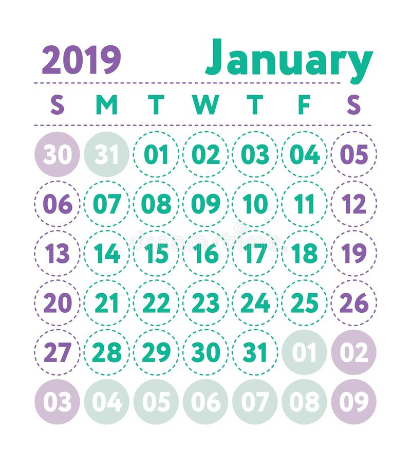 Calendar 2019. Vector English calender. January month. Week star. Ts on Sunday. Ready design template. Planner. Business planning. Trend purple and green colors stock illustration