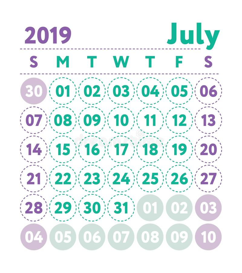 Calendar 2019. Vector English calender. July month. Week starts vector illustration