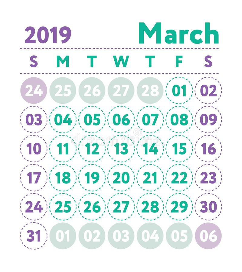 Calendar 2019. Vector English calender. March month. Week starts. On Sunday. Ready design template. Planner. Business planning. Trend purple and green colors vector illustration
