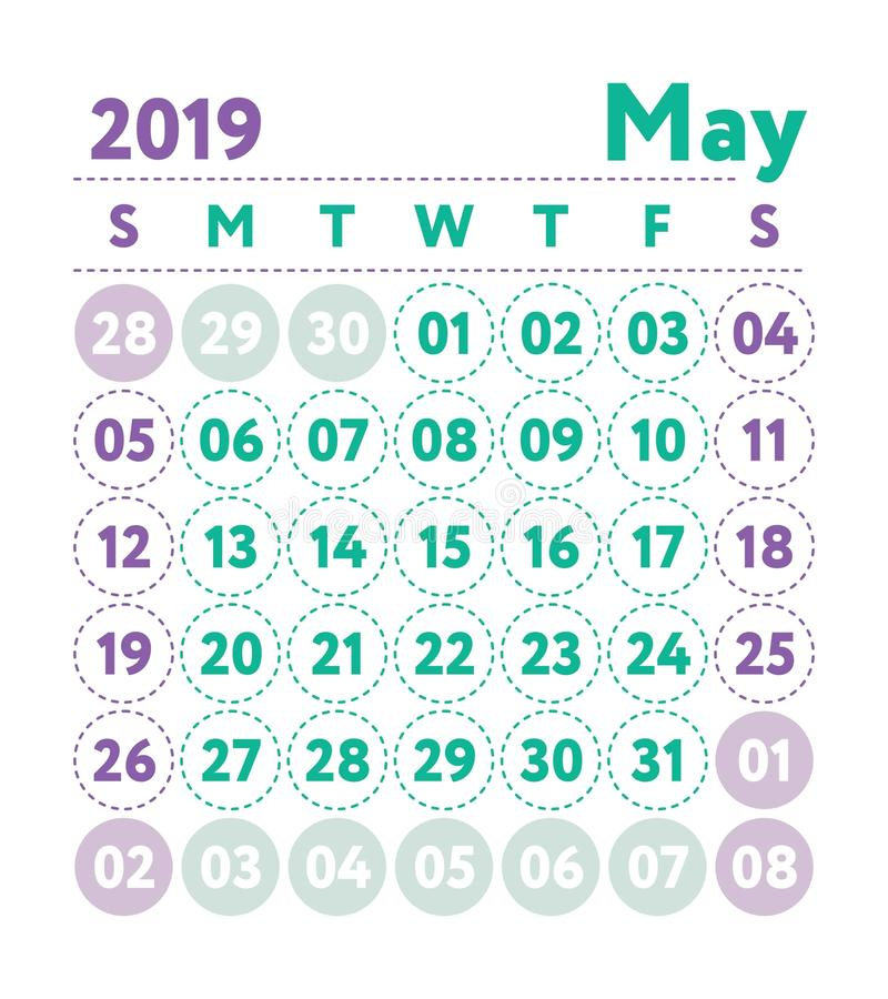 Calendar 2019. Vector English calender. May month. Week starts o vector illustration