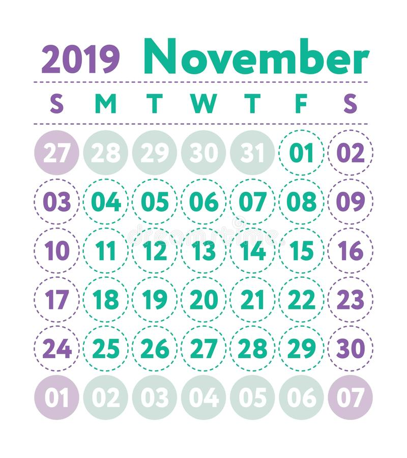 Calendar 2019. Vector English calender. November month. Week sta. Rts on Sunday. Ready design template. Planner. Business planning. Trend purple and green colors stock illustration