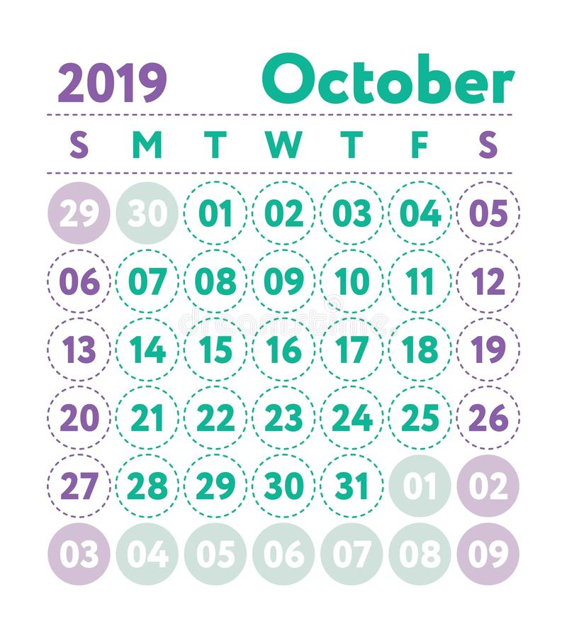 Calendar 2019. Vector English calender. October month. Week star stock illustration