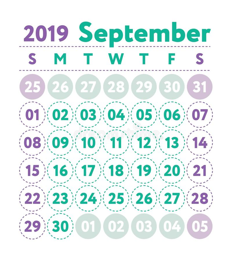 Calendar 2019. Vector English calender. September month. Week st royalty free illustration