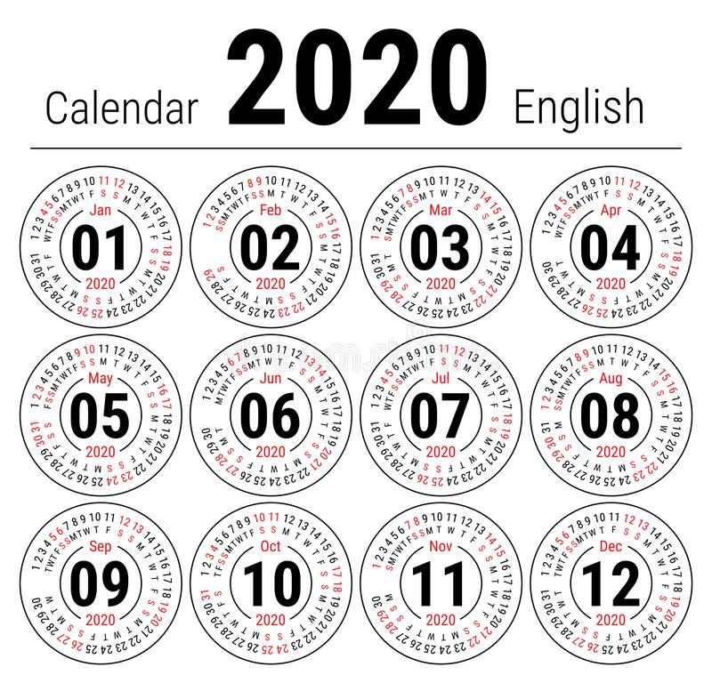 Calendar 2020. Vector English round calender. January, February, March, April, May, June, July, August, September, October, vector illustration