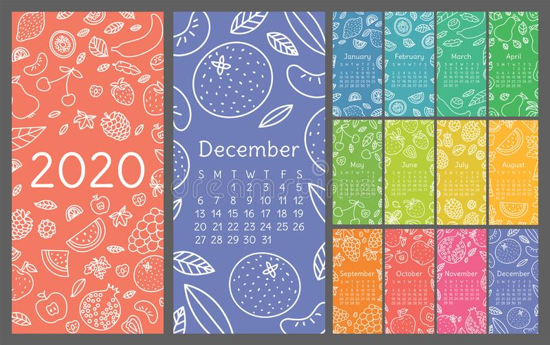 Calendar 2020. Vector English wall calender template. Fruits, berries. Lemon, kiwi, banana, pear, cherry, strawberry, raspberry, stock photos