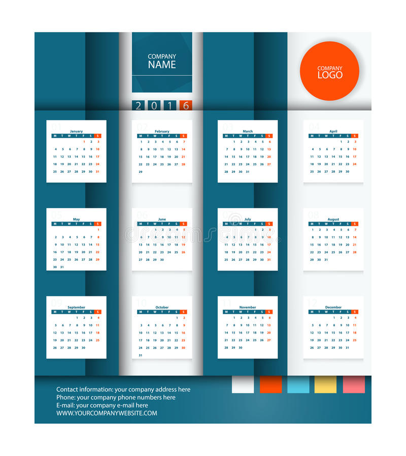 Calendar 2016 Vector Flat Design Template.Square stylized vector illustration