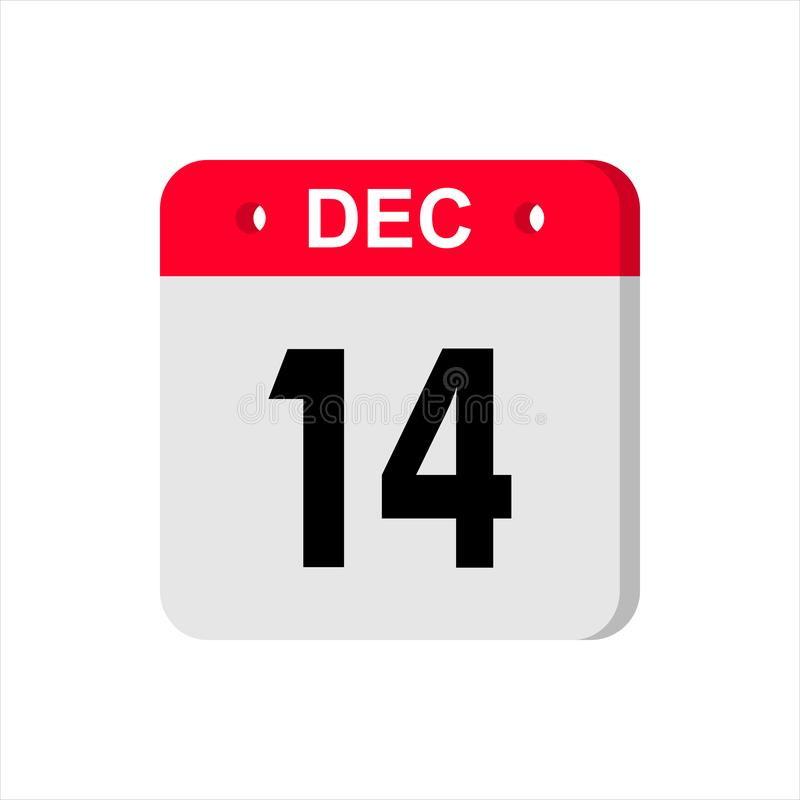 Calendar vector icon on white background. December 14. stock photo