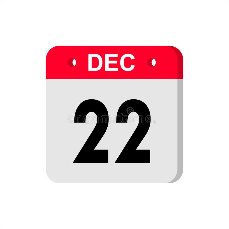 Calendar vector icon on white background. December 22. stock photography
