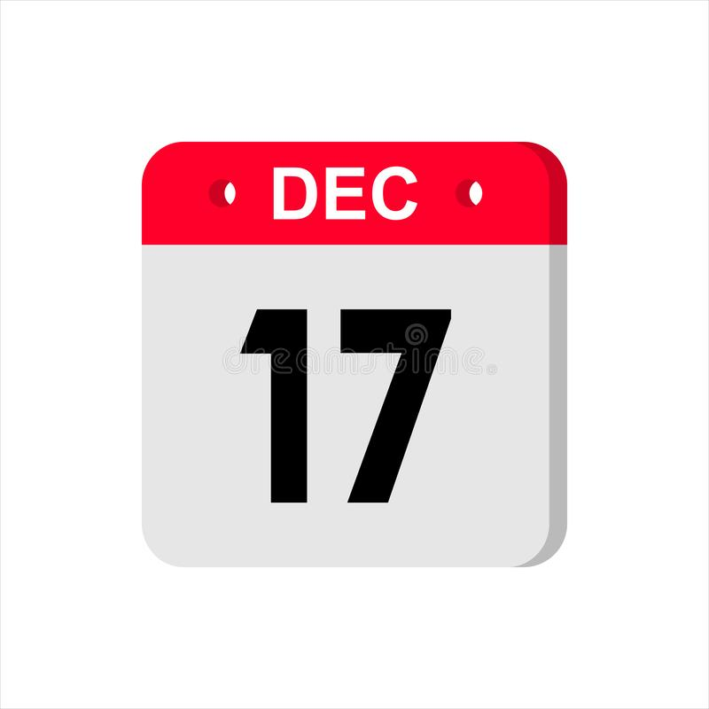 Calendar vector icon on white background. December 17. stock photo
