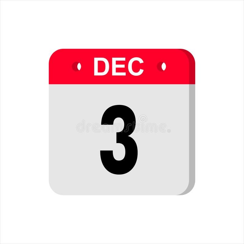 Calendar vector icon on white background. December 3. stock photo