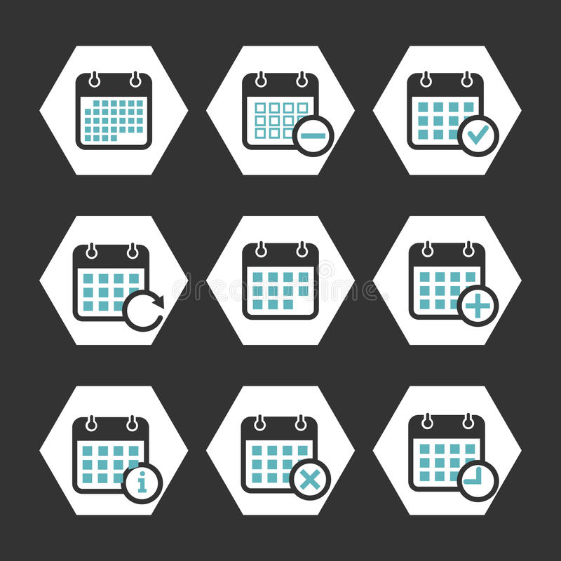 Calendar vector icons with event, progress and other symbols vector illustration