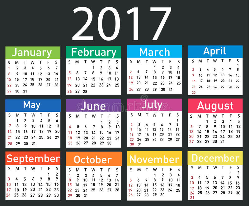 Calendar for 2017 royalty free illustration