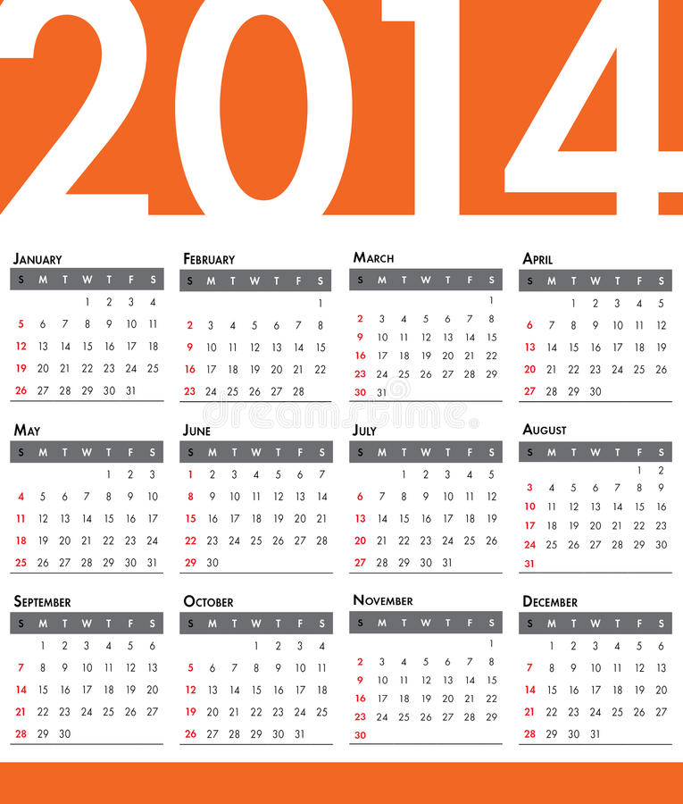 Download 2014 Calendar stock illustration. Image of graphics, july - 33951892