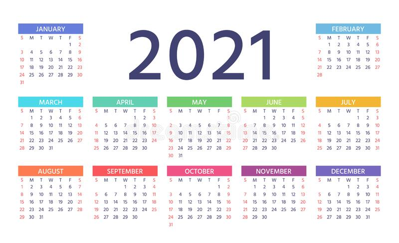 2021 Calendar. Vector Illustration. Color Template Year Planner