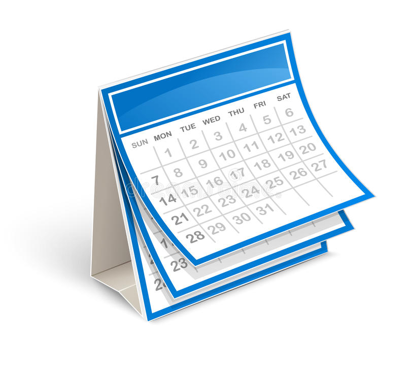 Calendar. Vector illustration of calendar in perspective on white background