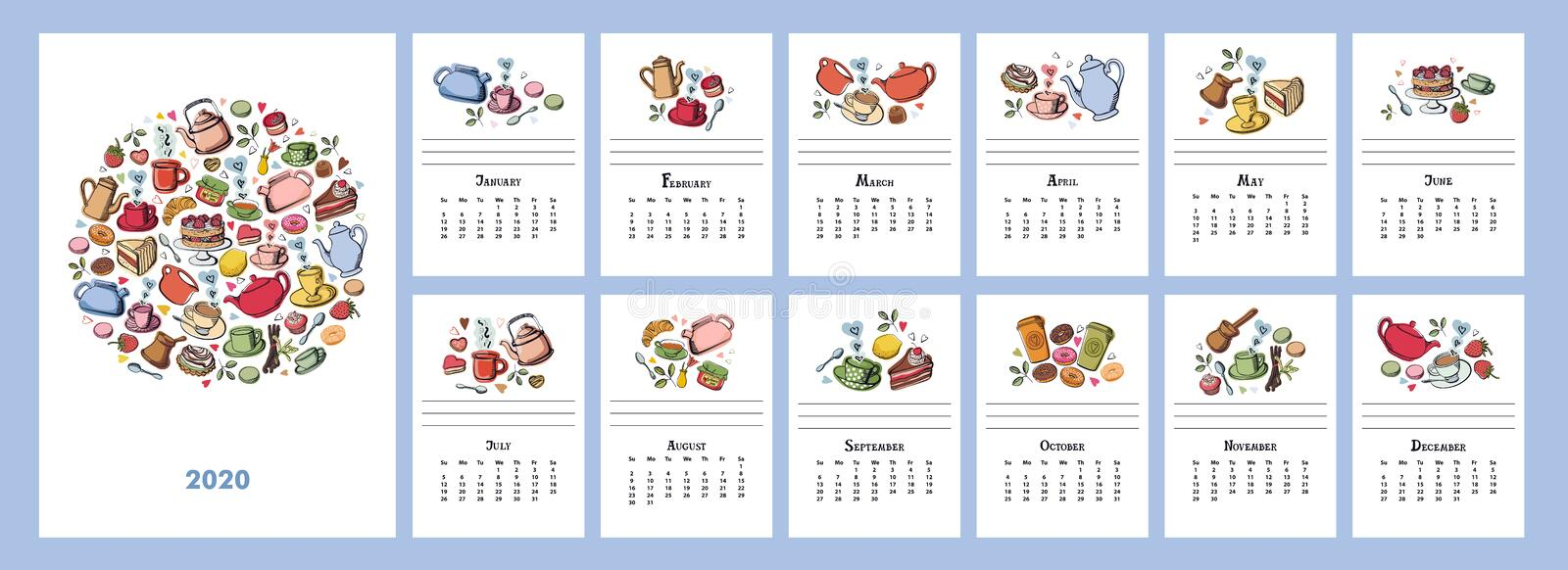 The calendar 2020 Vector Illustration Tea party with sweet desserts, cakes and donuts Coffee and fruits. Set stock illustration