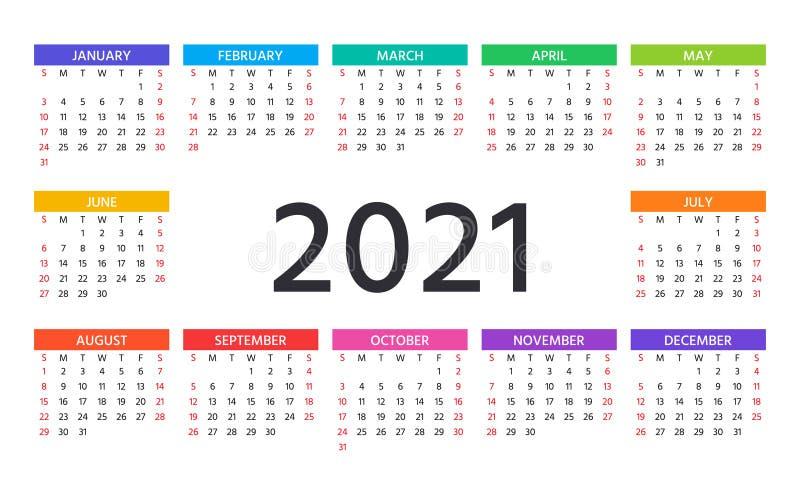 2021 Calendar. Vector Illustration. Template Year Planner ...