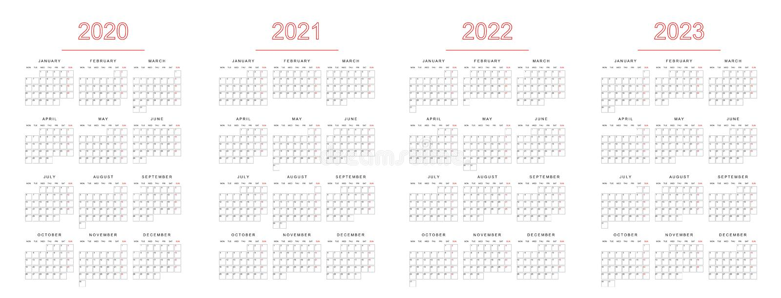 Calendar vector illustration of year 2020, 2021, 2022 and 2023, simple format with space for notes royalty free illustration