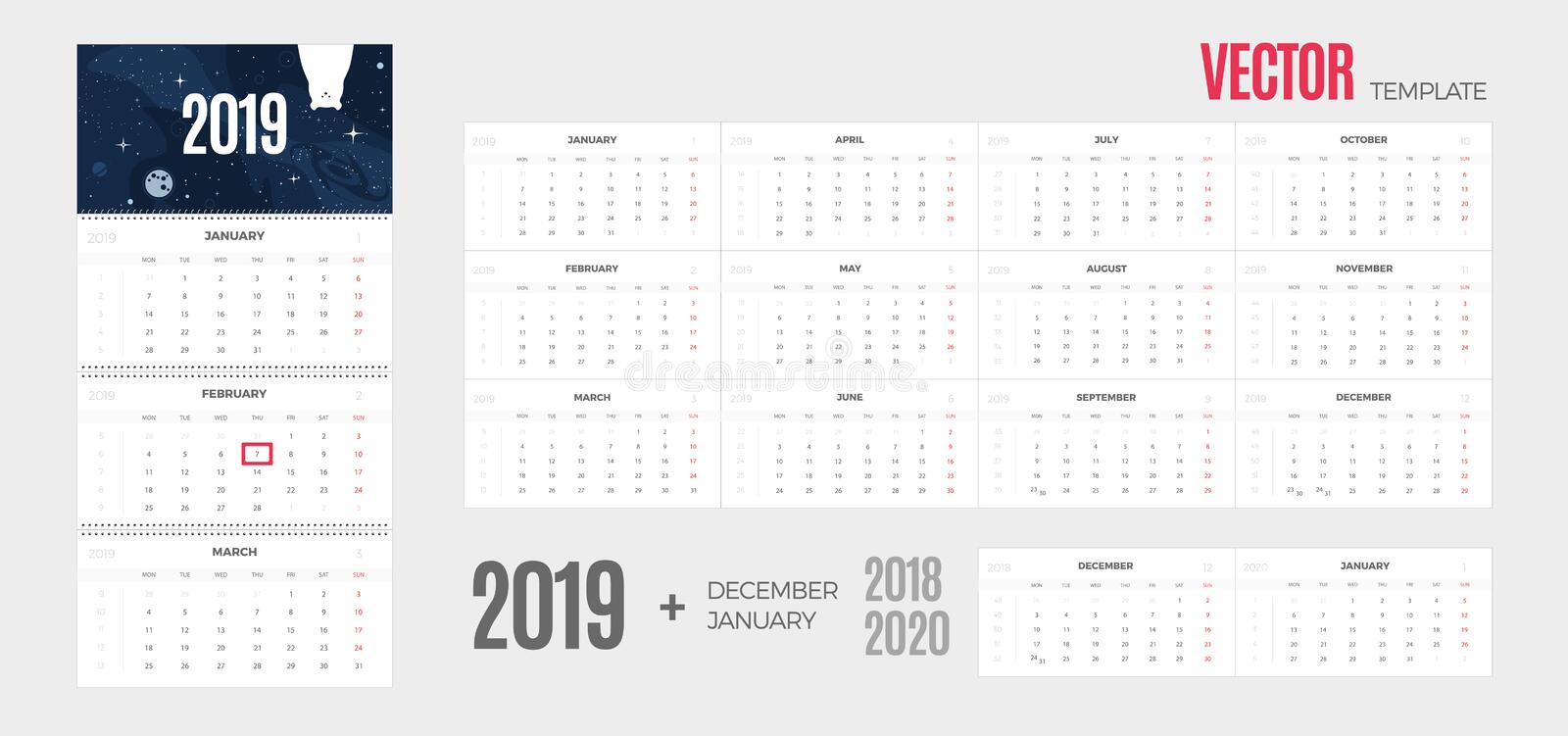 2019 Calendar. Vector quarterly template ready for print with fun space background and 3 month pages for wall. vector illustration