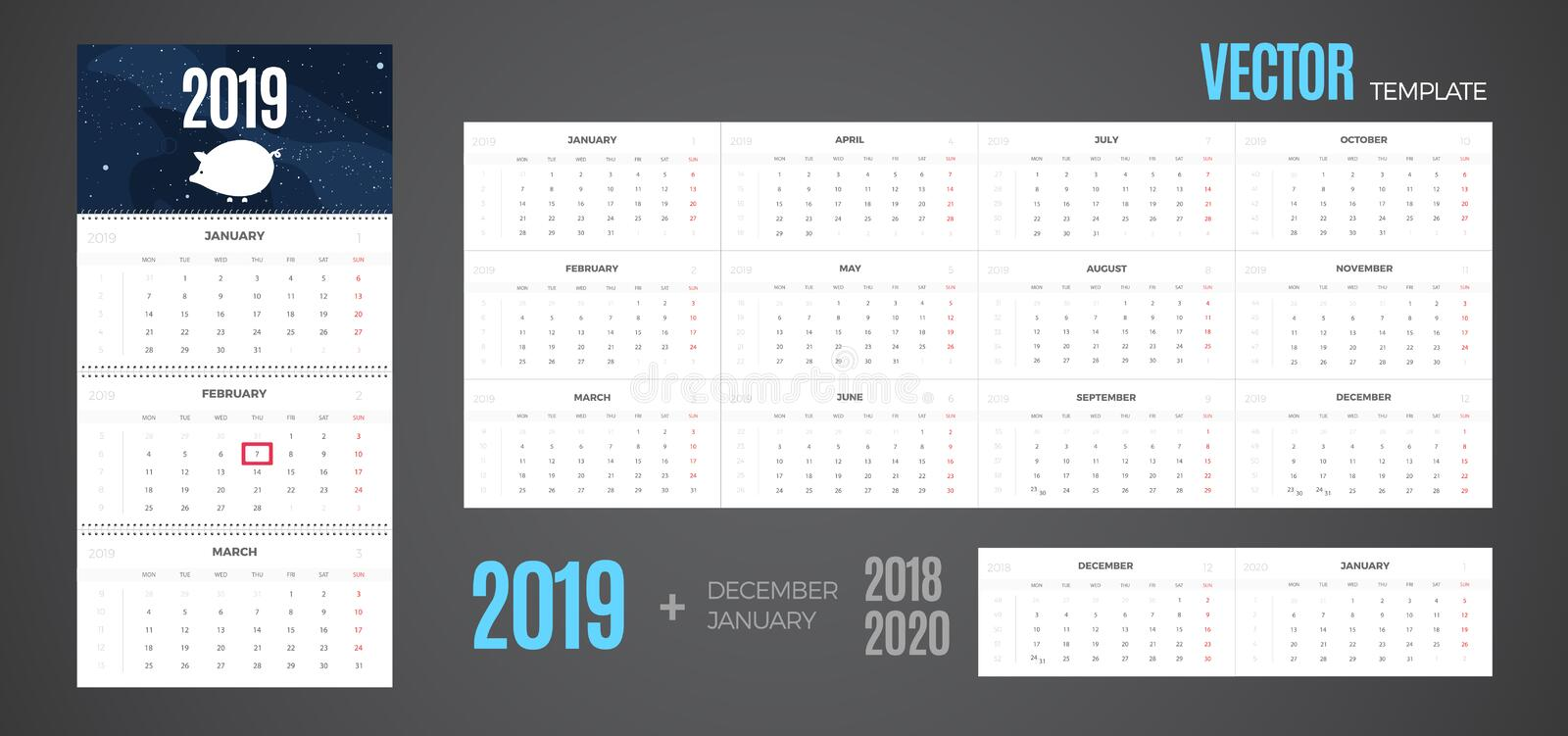 2019 Calendar. Vector quarterly template ready for print with pig on the background and 3 month pages for wall. Week starts Monday vector illustration