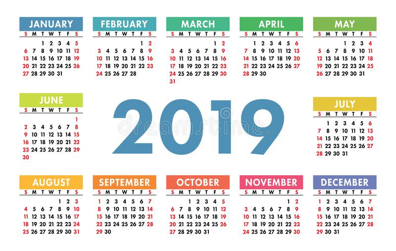 Calendar 2019. Vector template. English calender. Colorful set. Week starts on Sunday. Basic grid royalty free illustration