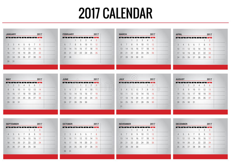 Calendar 2017. Vector template calendar 2017. An .EPS version is available. Week start monday. To be used by designers stock illustration