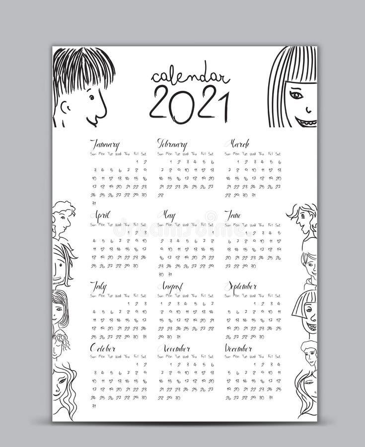 2021 Annual Calendar. Vector Illustration Stock Vector