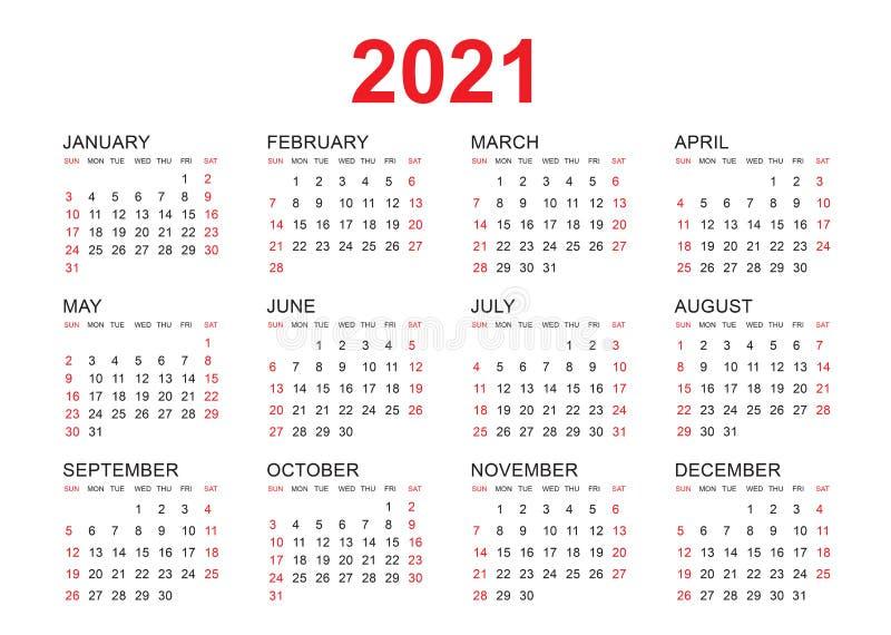 Calendar 2021 Vector Template, Simple Minimal Design, Yearly