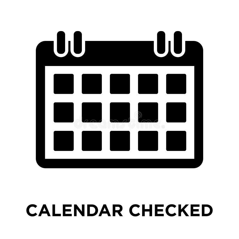 Calendar verificou o vetor do ícone isolado no fundo branco, logotipo ilustração stock