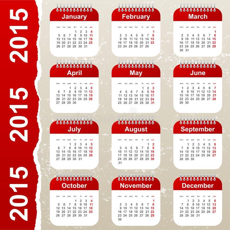 Calendar 2015. In vintage style stock illustration