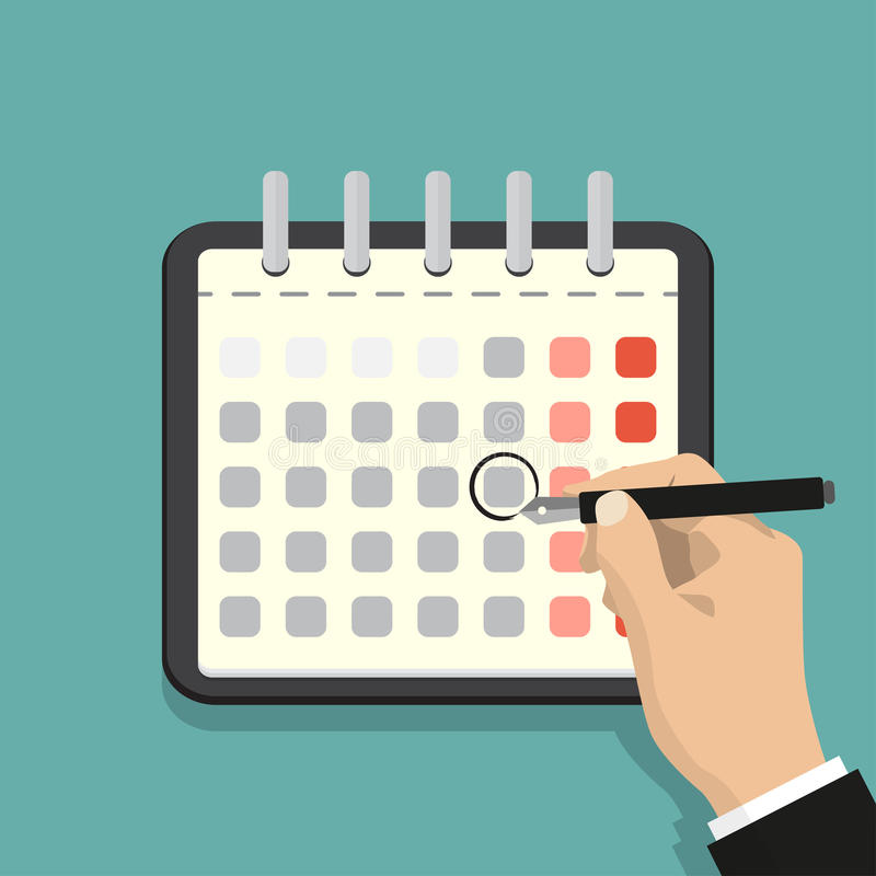 Calendar on the wall and hand marking one day on it. Flat illustration. royalty free illustration