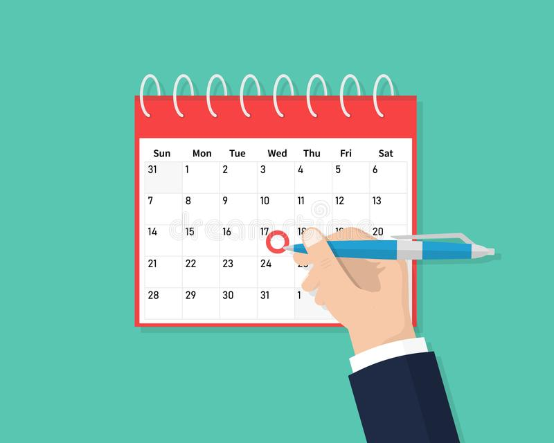 Calendar on the wall and hand marking one day on it. Save the date. Calendar flat icon. Schedule, appointment, organizer. Timesheet, important date. Flat stock illustration