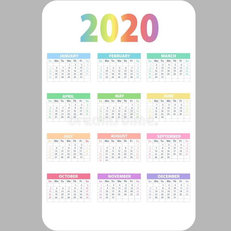 Calendar 2020. Wall planner calendars, week starts grid and year dates template. Date diary, business office calendar organizer vector illustration