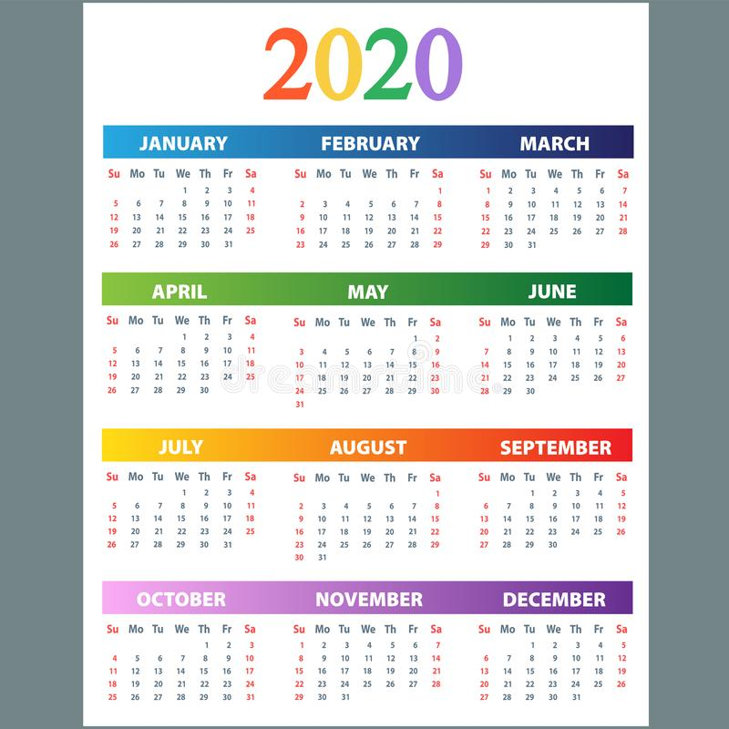 Calendar 2020. Wall planner calendars, week starts grid and year dates template. Date diary, business office calendar organizer royalty free stock images