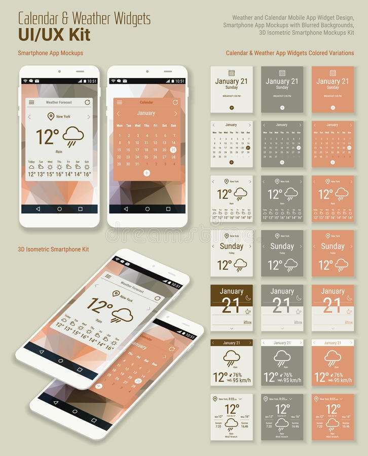 Calendar and Weather Mobile App Widgets UI Designs with Smartphone Mockups royalty free illustration