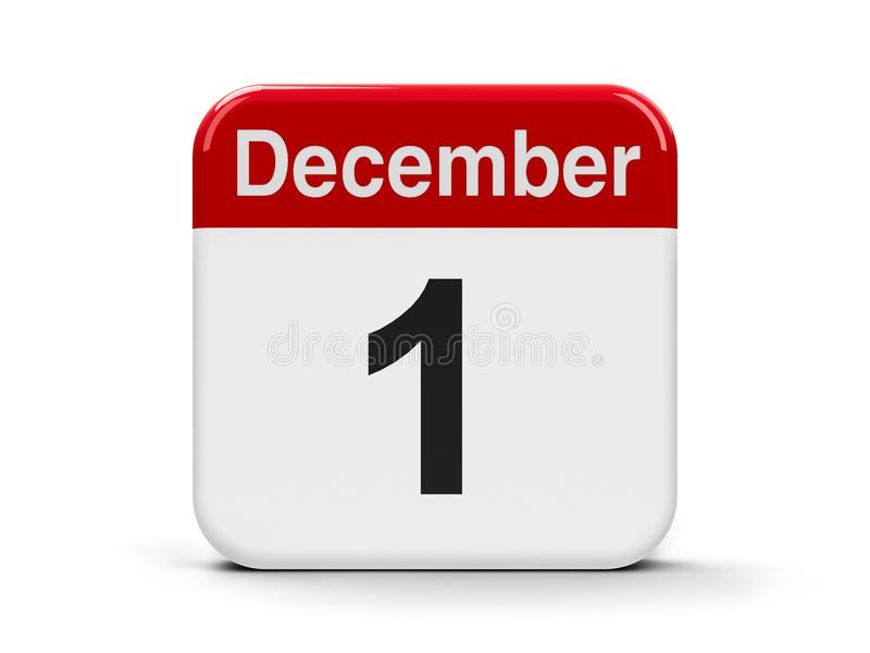 1st December. Calendar web button - The First of December - World AIDS Day, Independence Day in Iceland, Restoration of Independence Day in Portugal, three royalty free illustration