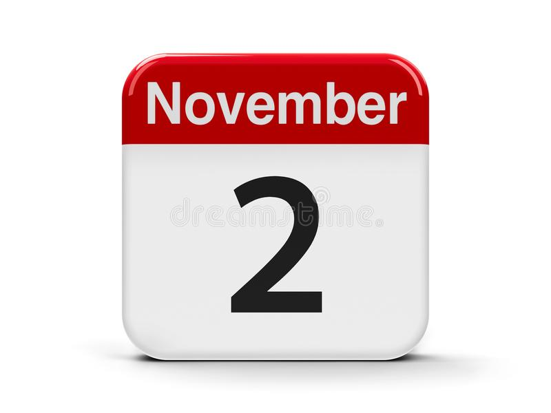 2nd November. Calendar web button - The Second of November - All Souls` Day, three-dimensional rendering, 3D illustration stock illustration