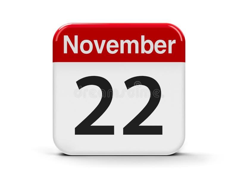 22nd November. Calendar web button - The Twenty Second of November, three-dimensional rendering, 3D illustration stock illustration