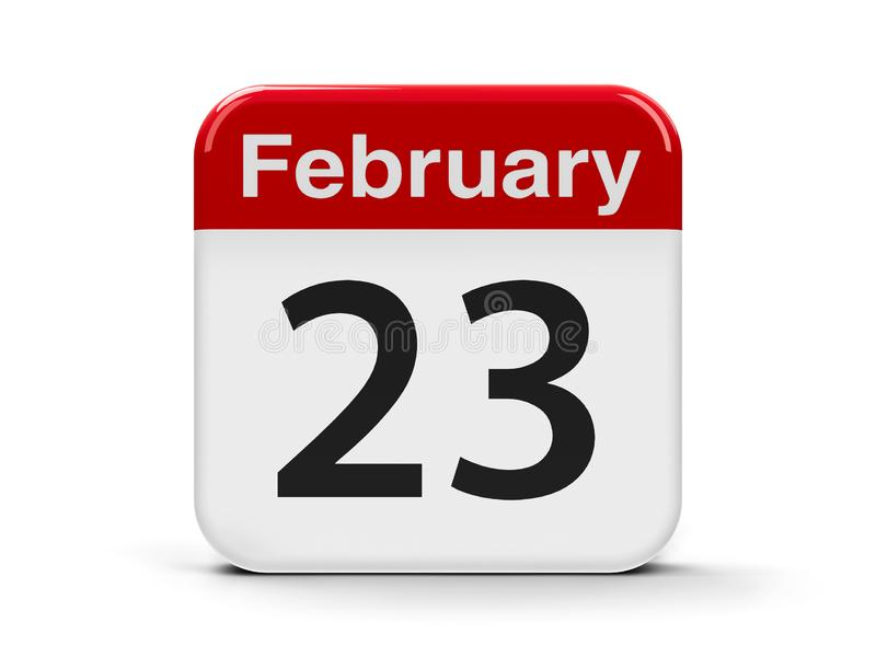 23rd February. Calendar web button - The Twenty Third of February, three-dimensional rendering, 3D illustration vector illustration