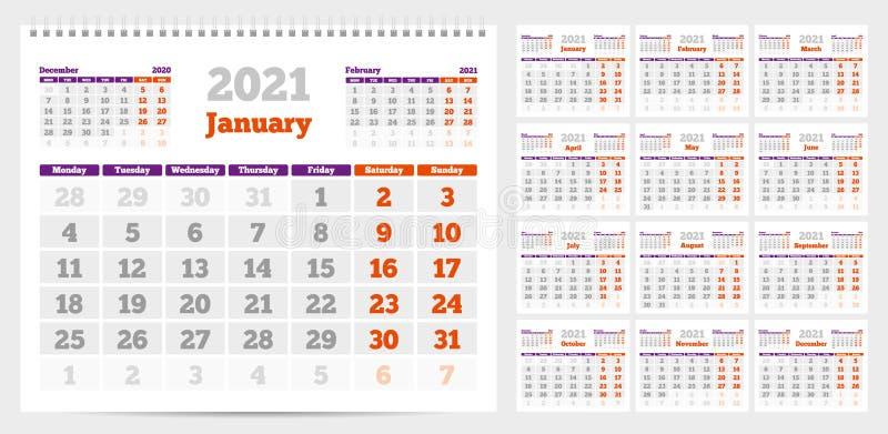 Calendar 2021. Week Start From Monday. Set Of 12 Months ...